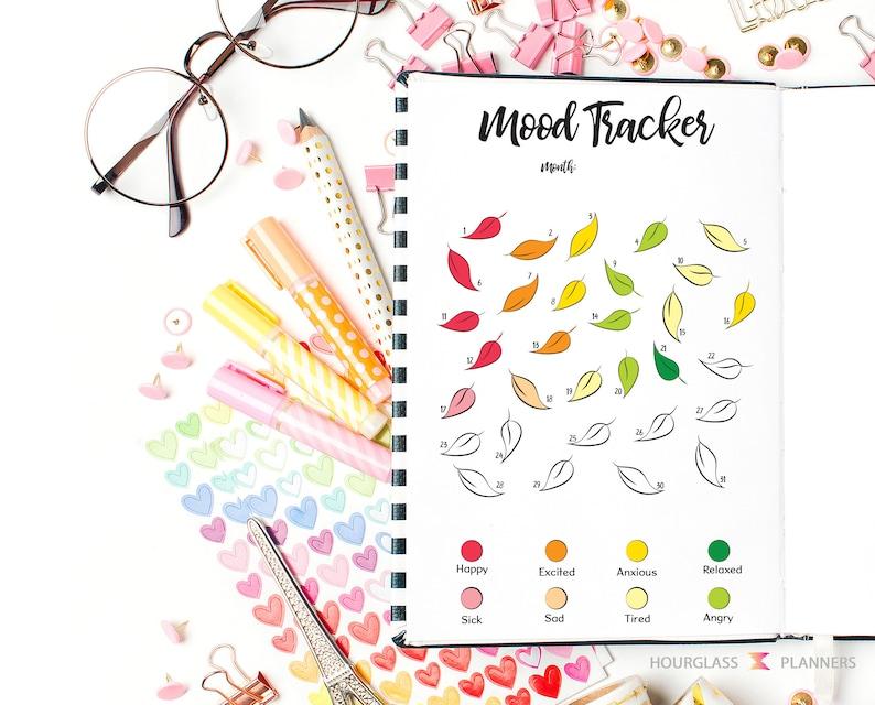 Printable Mood Tracker, A5, Letter, Leaf Mood Tracker, Bullet Journal Page,  Printable Planner, Self Care Tracker, Printable PDF