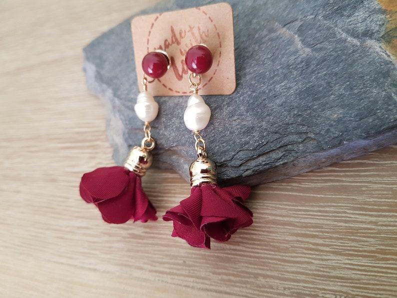 Handmade Earrings Dark Red Jewelry Burgundy Petal Tassel Freshwater Pearl Earrings Romantic Earrings Pretty Earrings Cute Earrings