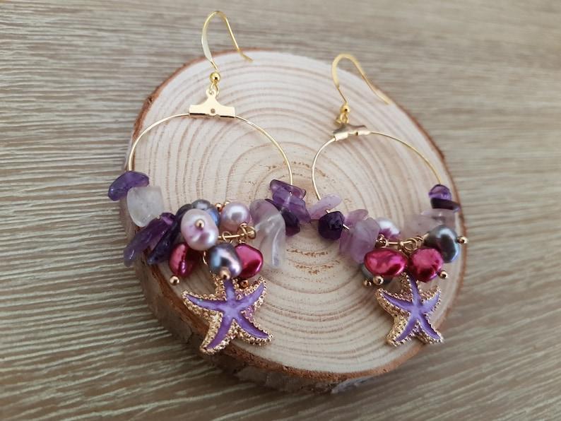 Purple Starfish Charm Multi-Coloured Stone Hoop Earrings Cute Earrings Handmade Gift Unique Earrings Handmade Jewellery Pearl Earrings