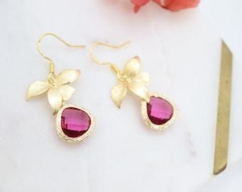 Wild Orchid Magenta Teardrop Crystal Earrings, Gorgeous Deep Pink Earrings, Elegant Pink Crystal Stone Earrings, Delicate Crystal Earrings