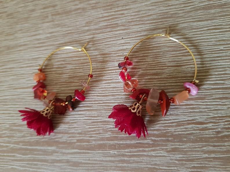 Handcrafted Jewellery Dark Red Natural Stone /& Petal Tassel Hoop Earrings Handmade Gift Cute Earrings Handmade Jewellery Gifts for her