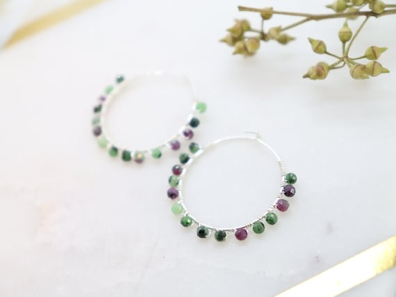 Argentium Silver Hoop Earrings With Ruby Zoisite Stones Handmade Silversmith Jewelry