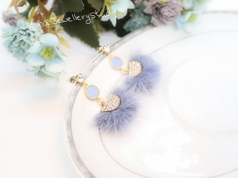 Pretty Xmas Jewellery Cute Dangle Earrings Semicircle Pom Pom Crystals 925 Silver Post Earrings Cute Fur Earrings Handmade Jewellery