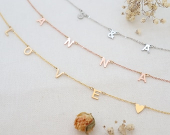 Custom Flat Letters Necklaces, Dainty Initial Necklaces, Name Charm Jewellery, Lovely Letter Necklaces, Minimalist Letters Necklaces