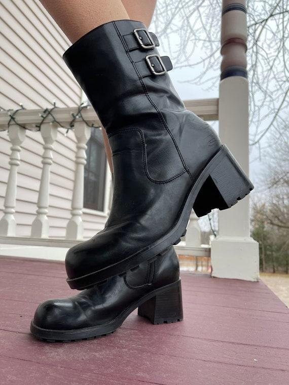 Vintage 90s Platform boots chunky shoes vampy grun