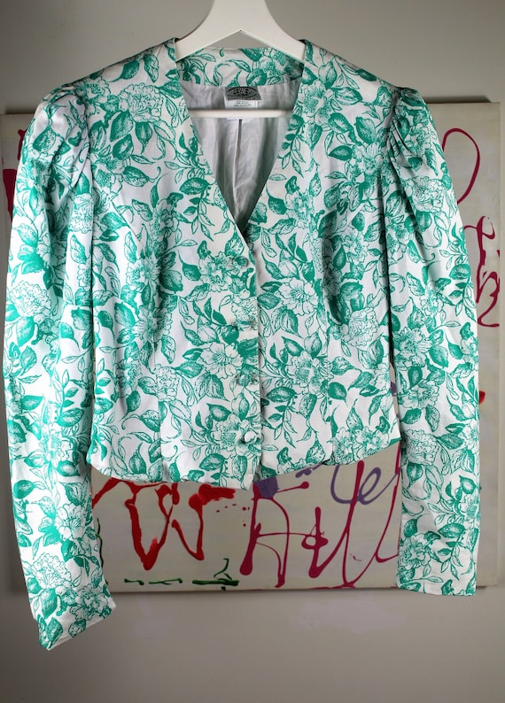 Laura Ashley Green Floral Cropped Jacket, 80s Puff