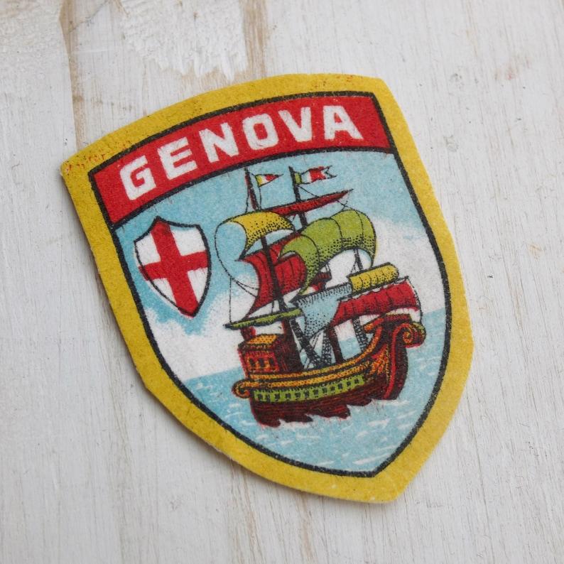 Vintage GENOA Genova Coat of Arms Shield Souvenir Patch Sew On