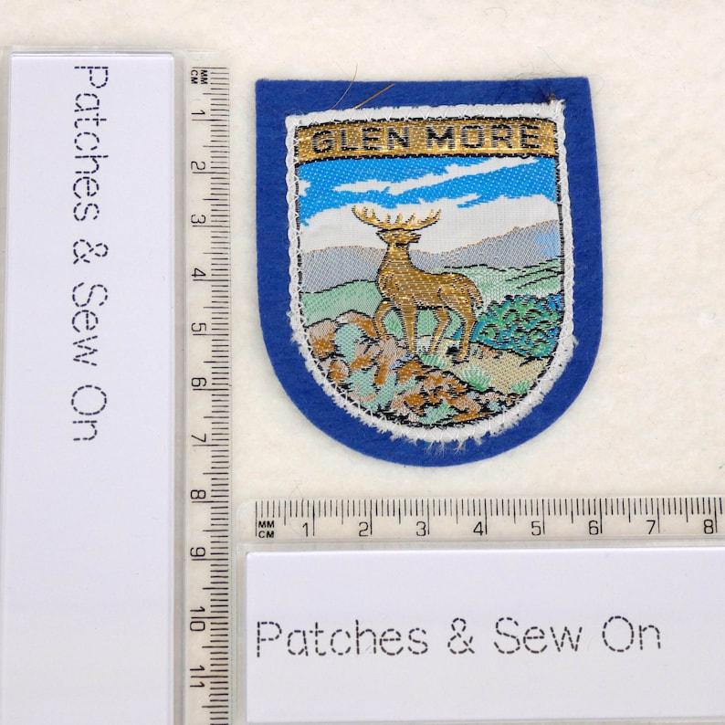 Vintage Patch GLEN MORE Cairngorms Scotland Souvenir Woven Sew On Cloth Badge