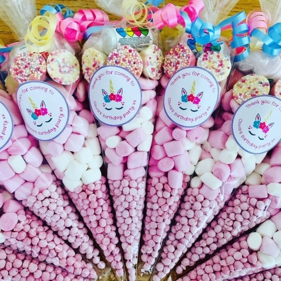 Large Pre Filled Sweet Cone Pink or Blue Birthday Party Wedding Minimum 10 cones