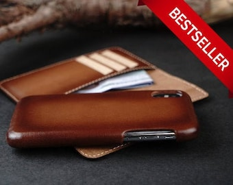 625a895c0f64 Personalized Brown iPhone Xs Wallet Case,Leather İPhone Xs Case,iPhone Xs  Case with Card Holder Magnetic Detachable,Handmade,Gift
