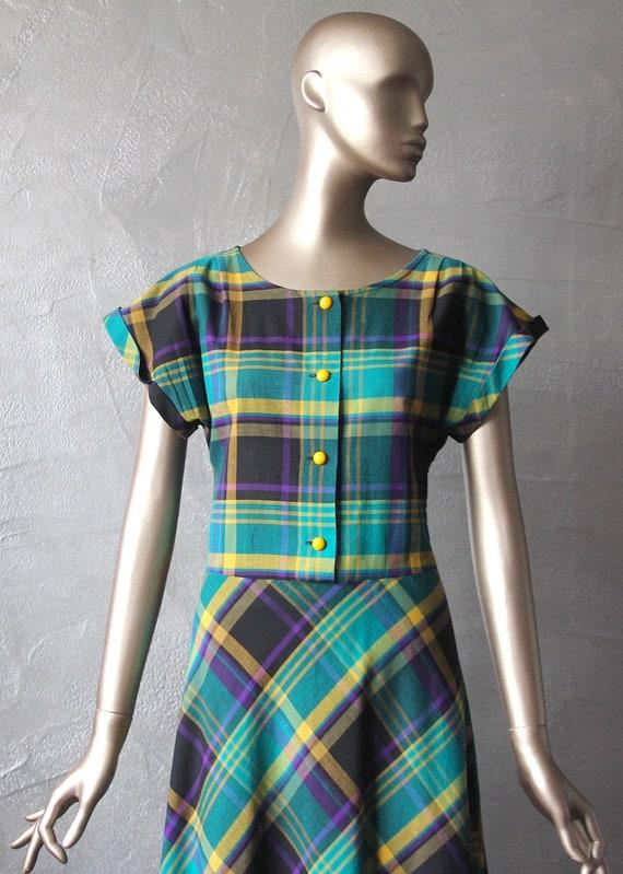 80'S shirt dress madras fabric