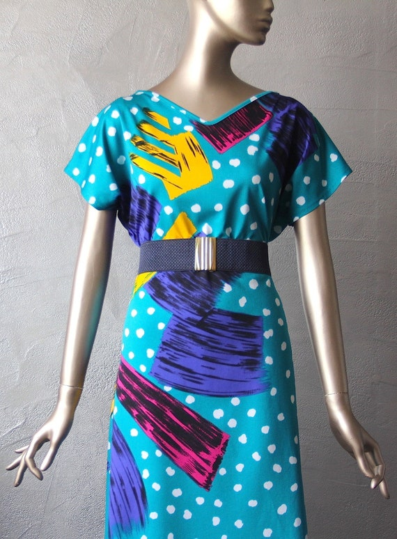 80's graphic print jersey dress