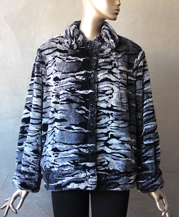 Elegant 80's fake zebra fur jacket