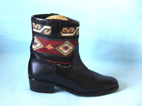 Black leather boots and tapestry T 39 EU