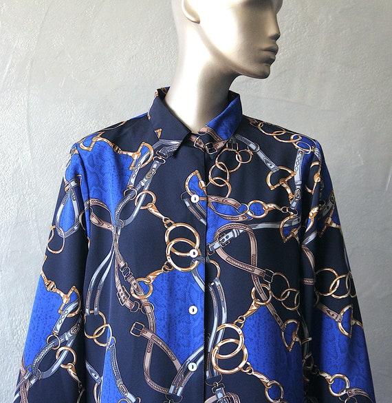 80'S satin blouse printed scarf