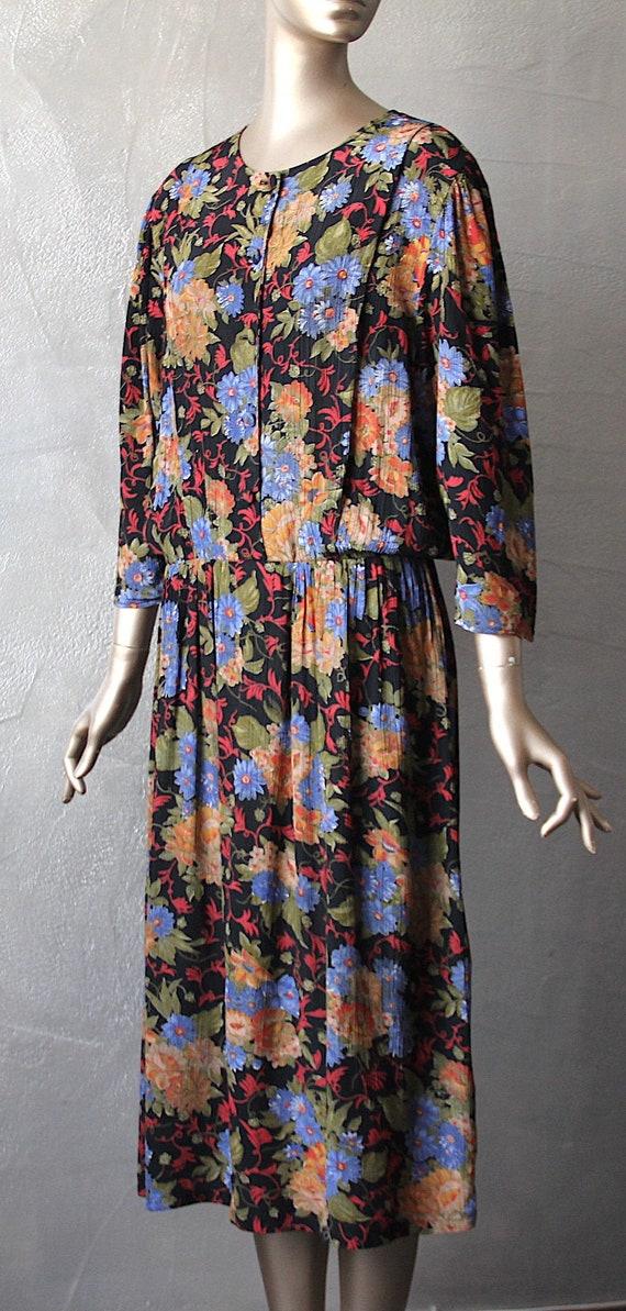 80'S floral loose dress