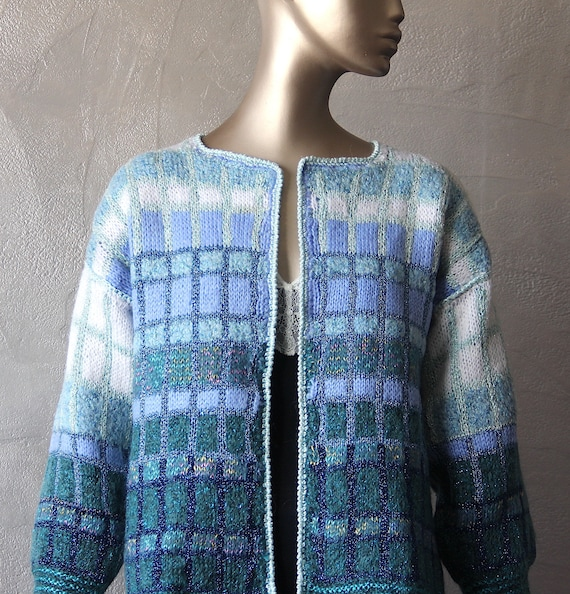 Hand-knitted mohair mohair cardigan