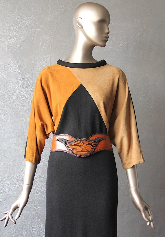 70'S wool and suede dress