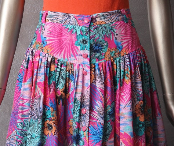 Tropical print 80's skirt
