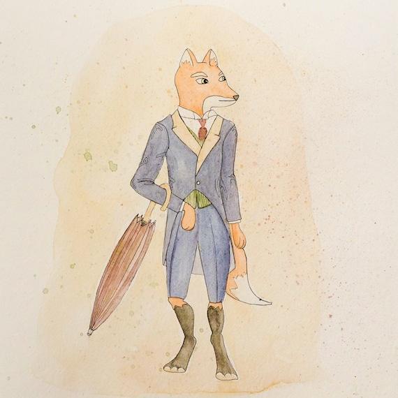 Mr Fox Print Fantastic Mr Fox Fox Art Watercolor Fox Etsy