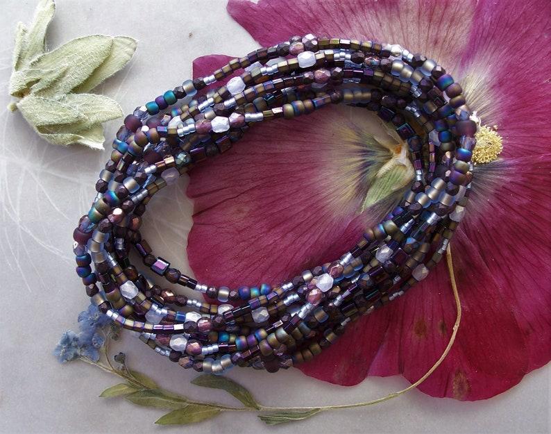 Set of 2 Iris and Purple Mix Dainty 5 Five Wrap Stretch Stacker Bracelets ~ Czech Glass Seed /& Fire Polished Beads ~ @7.25 Length Each Wrap