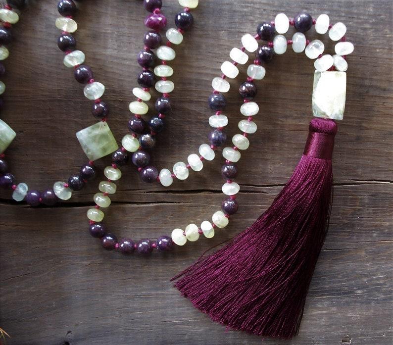 108 Bead Mala ~ Tassel Necklace ~ Star Ruby ~ Lemon Prehnite ~ Hand Knotted ~ Silk Lux Tassel ~ 34 Length