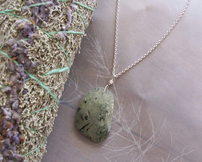 Prehnite Gemstone Large Faceted Flat Freeform Pendant on Sterling Silver Oval Cable Chain Necklace ~ 18 Length