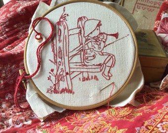 Embroidery Kit, Victorian Children, No. 1, Music Practice, vintage linen, silk threads, for gift, present, Slow Stitching