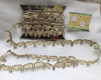 Vintage silk rayon passementerie edging, trim for craft, upholstery, Needlework, hat making, collage, junk journals, ephemera