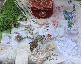 Vintage Craft Inspiration Pack, Fabric envelope stuffed with bits and pieces