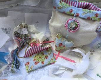 Vintage Craft Inspiration Pack, Vintage style project bag filled with bits and pieces