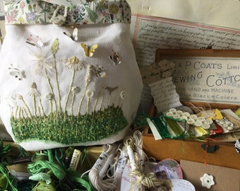 Embroidery Kit, Hedgerow III, Project Bag, vintage linen, silk, cotton, linen threads, Liberty fabric, buttons