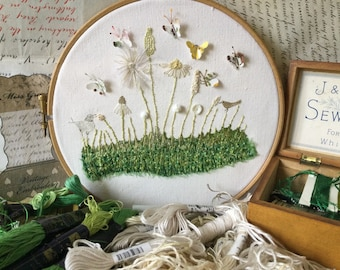 Embroidery Kit, Hedgerow III, vintage linen, silk, cotton, linen threads, Liberty fabric, buttons