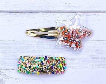 Rainbow and Sky Glitter Shaker Snap Clip Set