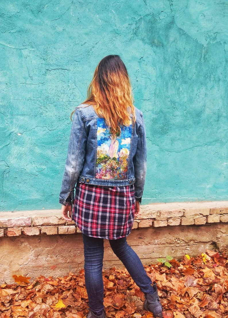 Denim jacket with artwork Monet Girl/'s jean jacket with acrylic painting Street stylish clothing world masterpieces of art birthday gift