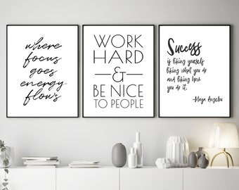 94d6e821078 Motivational Printables, Instant Office Wall Art, Set of 3 Files, Maya  Angelou Quote, Work Hard And Be Nice To People Sign, Digital Files