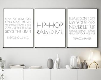 Set of 3 Hip Hop Printables, Rap Lyric DIY Posters, Instant Wall Art Download, Notorious BIG Quote, Tupac Shakur Lyrics, Rapper Prints