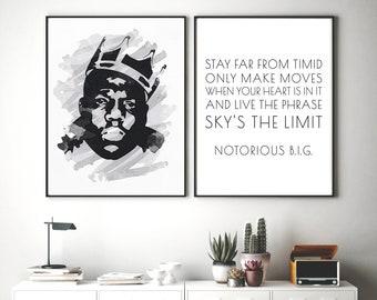 Set of 2 Hip Hop Posters, Notorious BIG quote, Biggie Smalls Portrait, Watercolor Print, Instant Rap Wall Art, Rapper Printable, Hip Hop Art