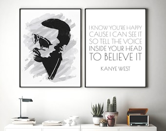 Set of 2 Kanye Prints, Rapper Wall Art, Kanye Quote, Printable Art, Rap Lyrics Wall Art, Kanye Portrait, Hip Hop Poster, Printable Wall Art