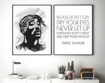 Set of 2 Hip Hop Prints, Tupac Wall Art, Rapper Poster, Rap Quote Art, Hip Hop Office Decor, Printable Painting, Tupac Watercolor Print