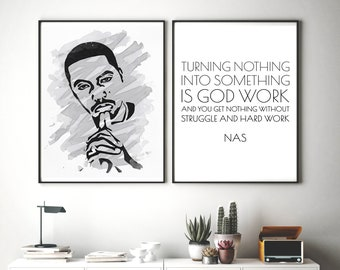 Set of 2 Hip Hop Posters. Rapper Wall Art, Nas Portrait, Rap Lyrics Print, Nas Rap Quote, Hip Hop Wall Art, Digital Download, Printable File