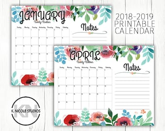 2018 2019 printable calendar with notes section floral monthly planner inserts large watercolor desk calendar