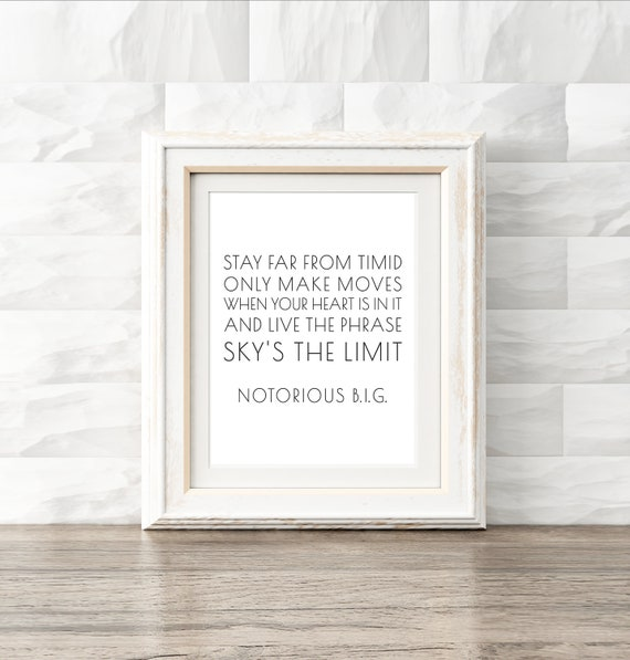 Notorious Big Lyrics Hip Hop Printable Typography Quote Etsy