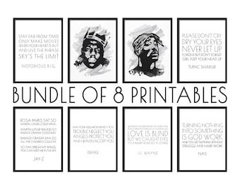 Bundle of 8 Files, Printable Wall Art, Rap Lyric Print, Notorious BIG Quote, Tupac Portrait, Office Wall Art, Rapper Wall Art, Gallery Print