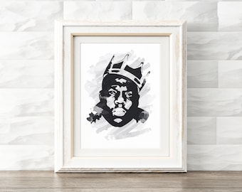 Biggie and Tupac Watercolor Portrait Printables Set of 2