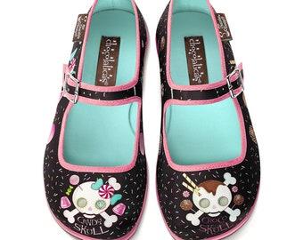 36d94e8cda38 Hot Chocolate Design Women s Mary Jane Flat Shoes Chocolaticas Candy Skull
