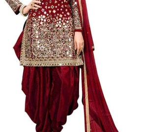 1115eed740 Red Salwar suit dupatta party wear Indian Patiala suit wedding wear Salwar  top dupatta with heavy mirror work and embroidery for womens.