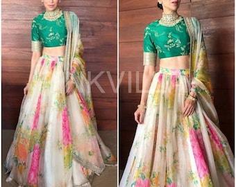 908f2d9514 Lehenga choli multicolor silk printed lengha with dupatta party wear latest  wedding wear Indian dress for women's.