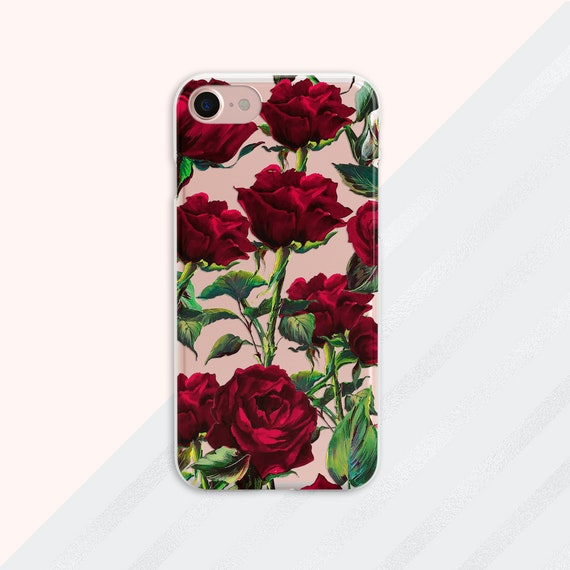 Floral Iphone Case Red Roses Iphone Xs Max Case Iphone Case Etsy