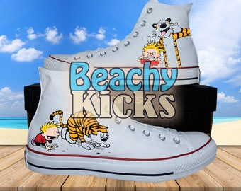 Calvin and Hobbes Custom converse   Hand Painted shoes   Birthday Gifts    Free US Shipping 3d8b625ee